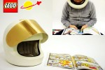 Awesome wearable Lego minifig space helmet reads comics