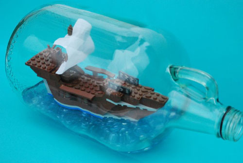 Ship in a bottle is made from Lego
