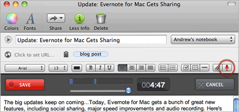 Evernote for Mac 2.1 Updates Include Note Sharing and Recording