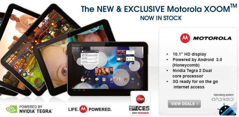 Motorola's XOOM 3G arrives in UK from £130