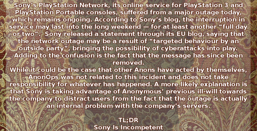 PSN Network Updates – Anon disavows [UPDATED AGAIN]