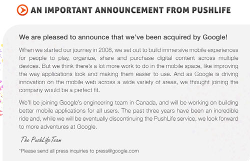 PushLife gets gobbled by Google