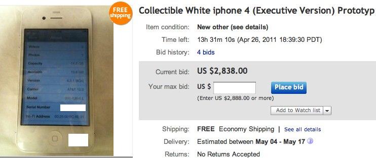 White iPhone 4 prototype hits eBay