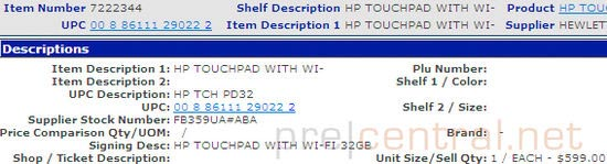 HP TouchPad 32GB To Hit Walmart For $599