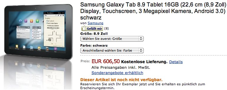Samsung's Galaxy Tab 8.9 gets painful Euro pricing