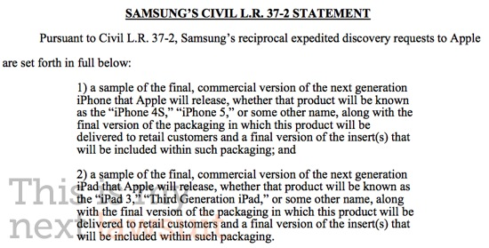 Samsung Legal Department Demands to See iPhone 5 and iPad 3