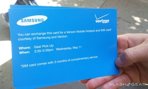 Samsung and Verizon Hand Out Tickets for SIM Cards and Mobile Hotspots at Google I/O 2011