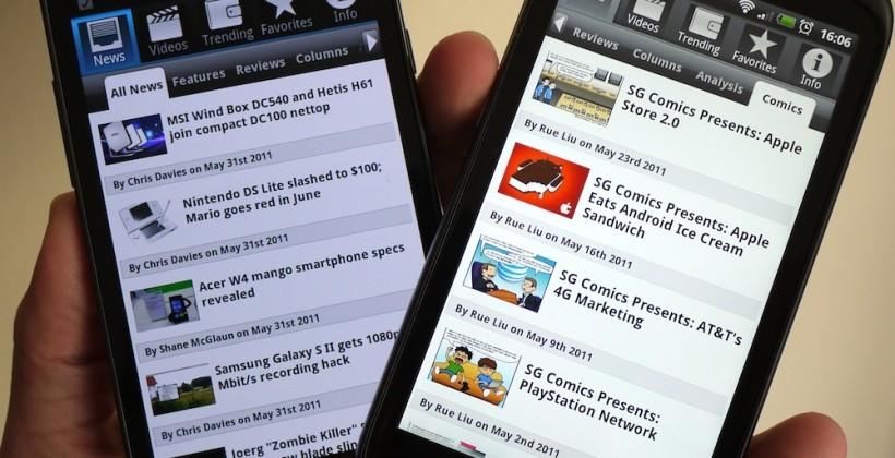SlashGear Android app updated! Comics, sharing & more
