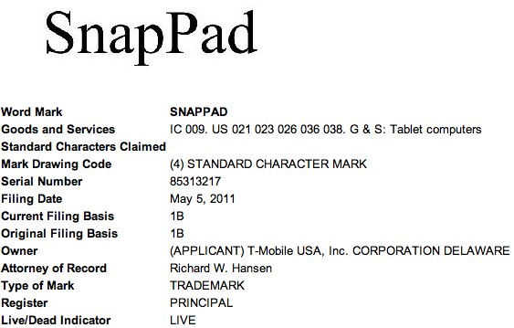 T-Mobile SnapPad tablet trademark revealed: Flyer or Sony S2?