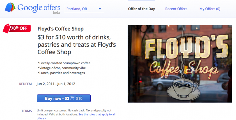 Google Offers Beta Goes Live, First Coupon In Portland