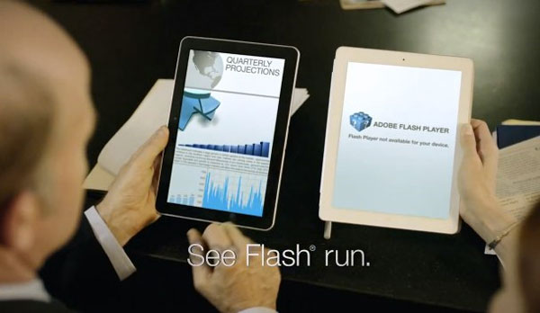 Samsung commercial pokes fun at iPad 2's lack of Flash