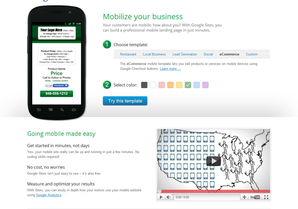 Google Launches Free Mobile Website Building Tool