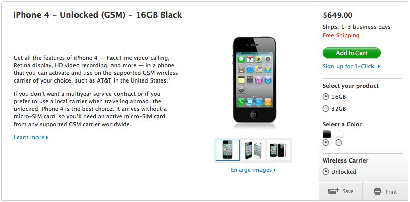 Unlocked iPhone 4 on sale in US from $649