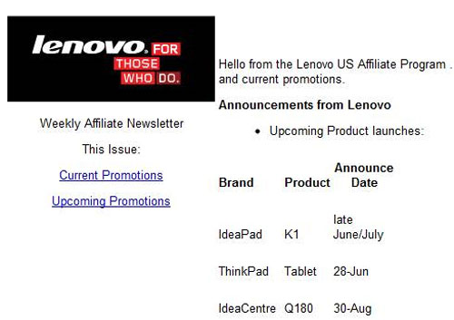 Lenovo IdeaPad K1 Android tablet coming late June or early July