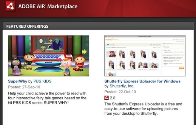 Adobe Shutters AIR Marketplace And InMarket