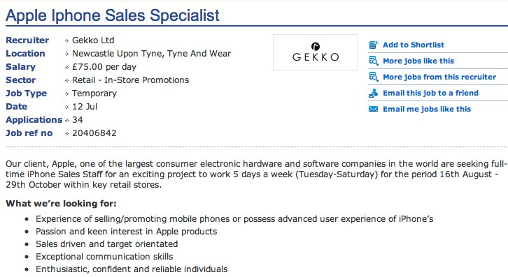 iPhone 5 on August 16 suggests Apple Store job posting