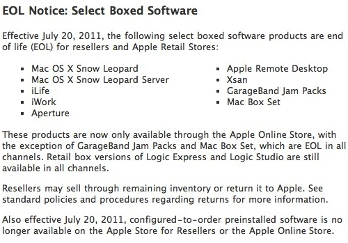 Apple Killing Off More Boxed Software From Stores