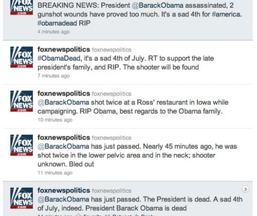 Fox News Twitter account hacked, Obama not shot