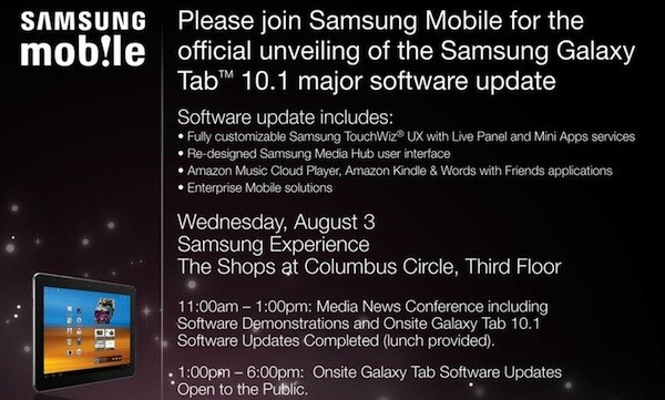 Samsung Galaxy Tab 10.1 To Get New TouchWiz UX On August 3, But NYC Only