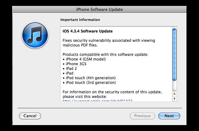 Apple iOS 4.3.4 Released, PDF Vulnerability Fixed