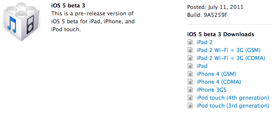 Apples Seeds iOS 5 Beta 3 To Developers