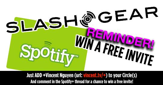 Spotify Invites Giveaway Courtesy of SlashGear!