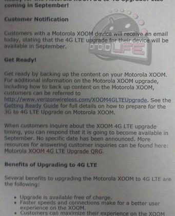 Motorola XOOM 4G LTE Upgrade Confirmed For September