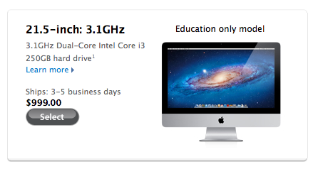 Apple $999 iMac for education on sale: Thunderbolt and Bluetooth MIA