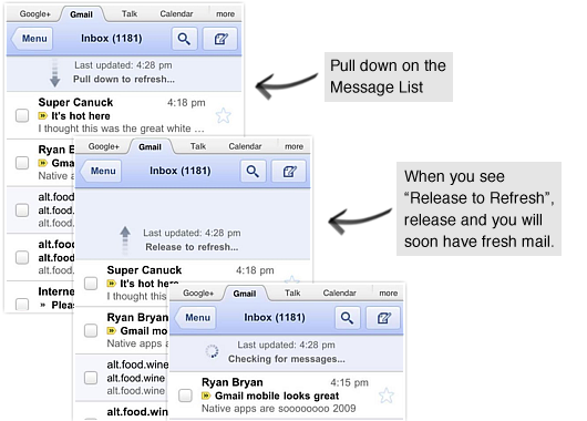 Gmail web app updated: Pull-to-Refresh and Retina Display icons