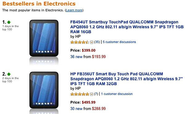 HP TouchPad tops Amazon's bestseller list