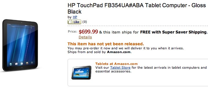 HP TouchPad 4G gets $700 Amazon listing
