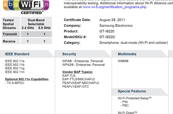 WiFi Certification for Samsung GT-I9220 Super AMOLED HD smartphone spied