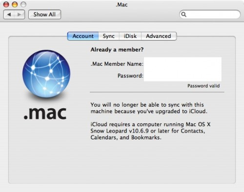 iCloud for OS X Snow Leopard with 10.6.9 update