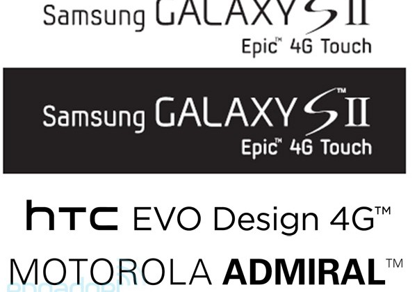Samsung Epic 4G Touch, HTC EVO Design 4G, Motorola Admiral Android Devices Leaked