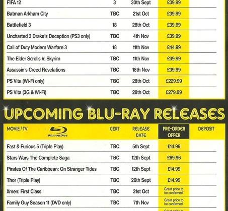 PS Vita due October 28 tips Blockbuster flyer