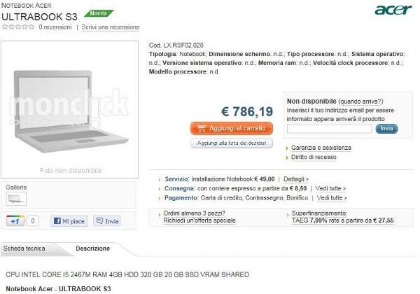 Acer Ultrabook S3/Aspire 3951 lands on Italian website early
