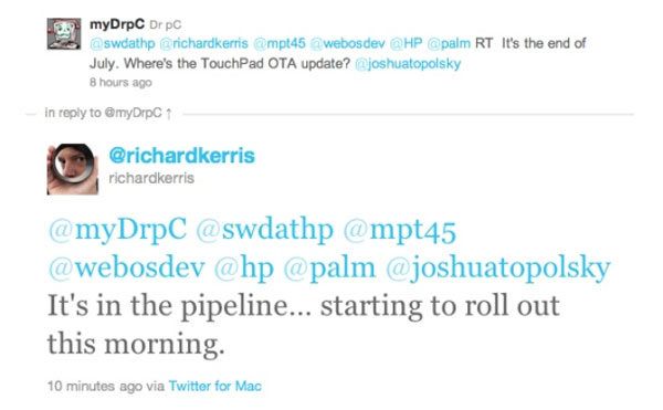 Update for HP TouchPad WebOS rolling out today
