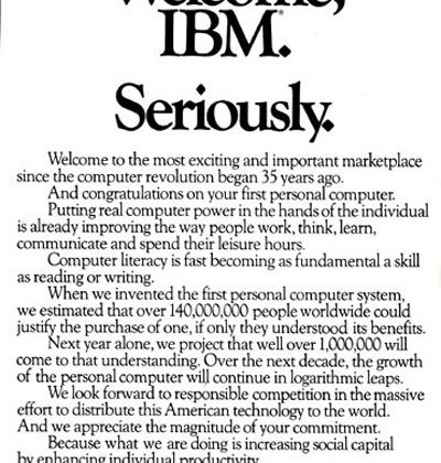 Apple Releases Full Page Welcome to IBM 30 Years Ago Yesterday