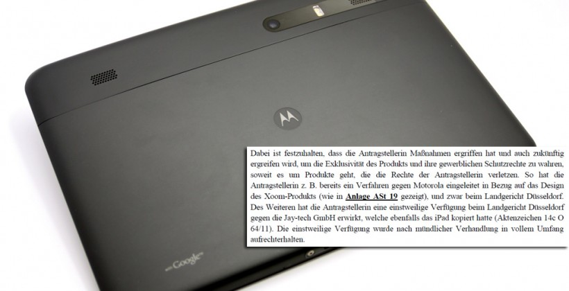 Apple targets Motorola XOOM next in Euro tablet cull