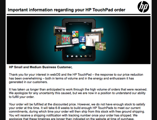 HP TouchPad backorders shipping in 6 to 8 weeks