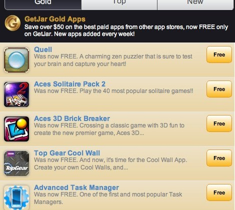 GetJar Gold challenges Amazon Appstore with 50 Android freebies
