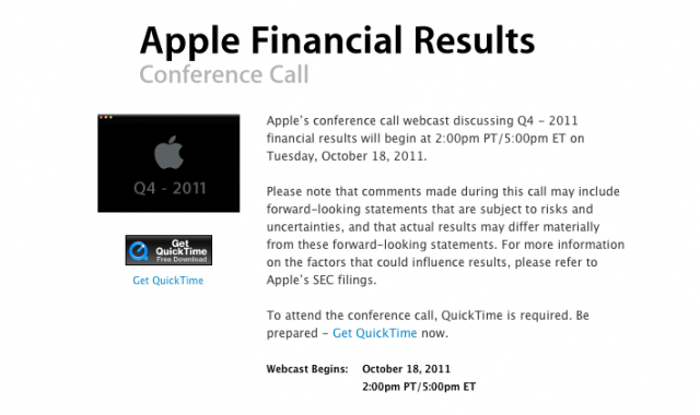 Apple sets Q4 2011 earnings call for October 18