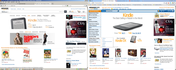 Amazon testing tablet-optimized website redesign