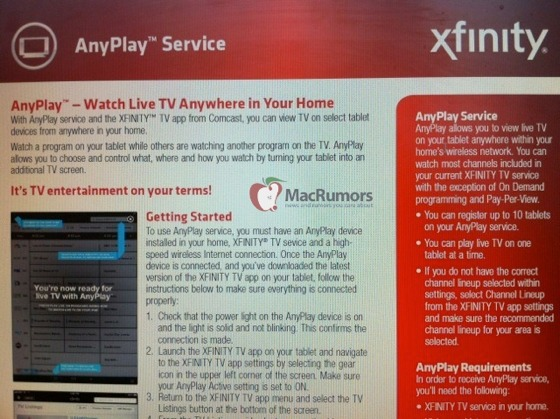 Comcast AnyPlay to bring live TV streaming to iPads