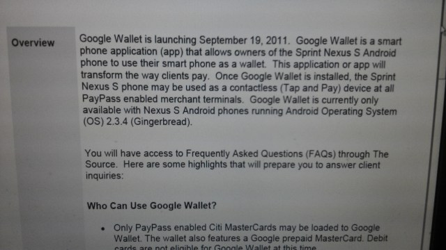 Google Wallet tipped to hit Nexus S 4G today
