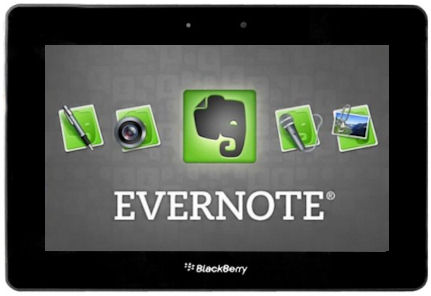 Evernote landing on the BlackBerry PlayBook