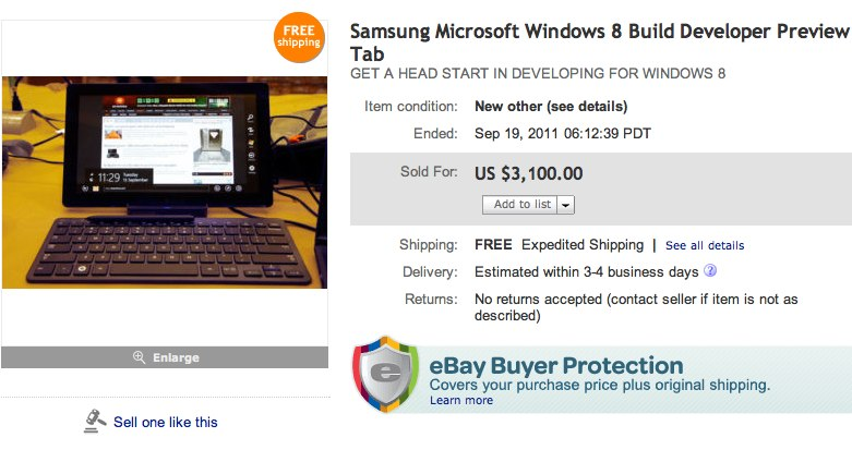 Samsung Windows 8 dev slates hit eBay for a premium
