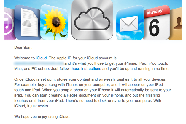 iCloud welcome email sent out early to some users