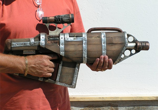 Wood clad Steampunk gun shoots NERF bullets