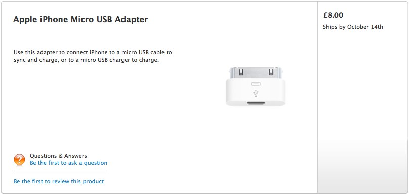 Apple iPhone microUSB adapter appears to pacify EU
